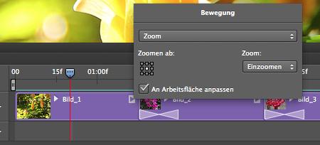 Die Bewegung «Zoomen» vergrössert das Bild während der Abspieldauer.