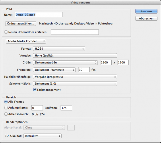 Videoexport für unterschiedliche Dateigrössen und Verwendungszwecke