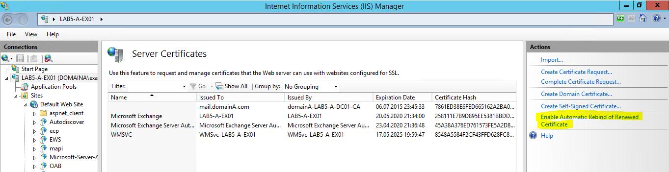 Die automatische Erneuerung von Zertifikaten in Microsoft Exchange ...