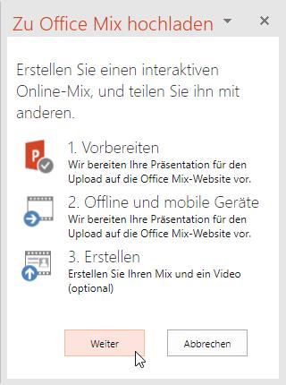 Abb. 15 Aufgabenbereich Zu Office Mix hochladen